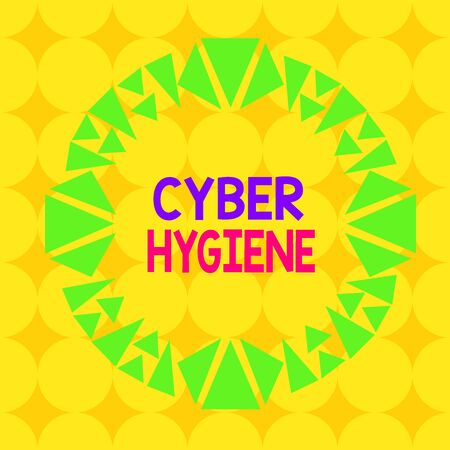 Handwriting text Cyber Hygiene. Conceptual photo steps that computer users take to improve their cyber security Asymmetrical uneven shaped format pattern object outline multicolour design
