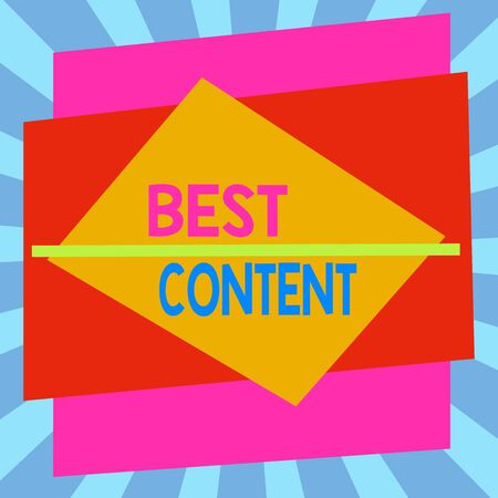 Writing note showing Best Content. Business concept for Information and experiences that are directed to the audience Asymmetrical format pattern object outline multicolor design