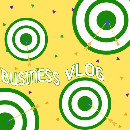 Conceptual hand writing showing Business Vlog. Concept meaning A video content about subject matter related to the company Arrow and round target asymmetrical shape multicolour design