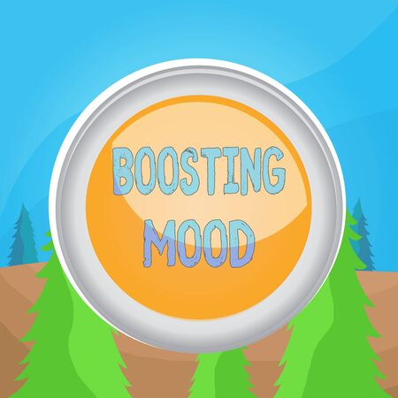 Word writing text Boosting Mood. Business photo showcasing To make someone feel more positive or more confident Circle button colored sphere switch center background middle round shaped Stockfoto