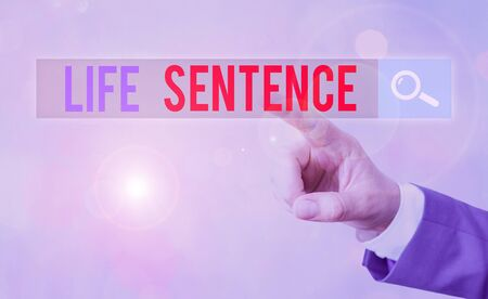 Text sign showing Life Sentence. Business photo showcasing the punishment of being put in prison for a very long time 版權商用圖片