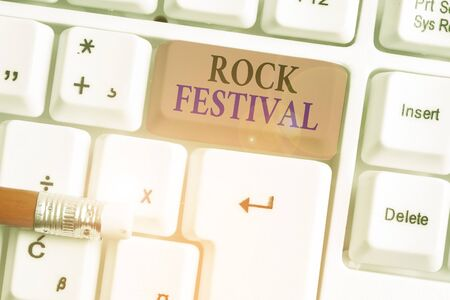 Writing note showing Rock Festival. Business concept for Largescale rock music concert featuring heavy metals genre 스톡 콘텐츠