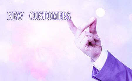 Writing note showing New Customers. Business concept for an entity that has not previously purchased one goods