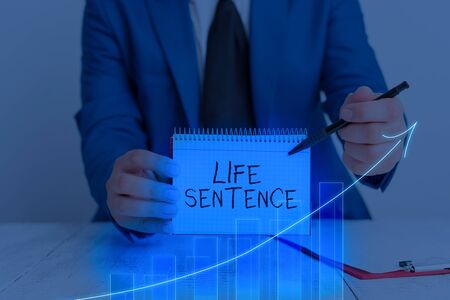 Word writing text Life Sentence. Business photo showcasing the punishment of being put in prison for a very long time