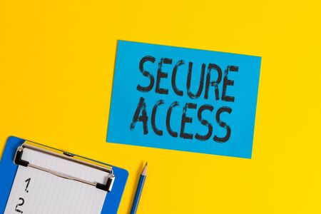Conceptual hand writing showing Secure Access. Concept meaning enhance the security and cryptography performance in devices Clipboard holding paper sheet square page pen colored background 版權商用圖片