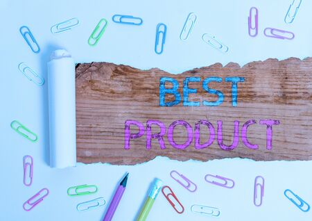 Text sign showing Best Product. Business photo showcasing very popular and a large quantity of it has been sold