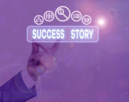 Writing note showing Success Story. Business concept for someone or something that has attain a goal Successful demonstrating