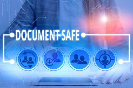 Writing note showing Document Safe. Business concept for keep your important paperwork and demonstratingal items protected