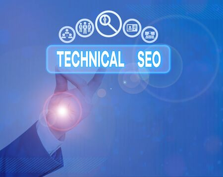Writing note showing Technical Seo. Business concept for Optimization of website that doesn t involve the content part