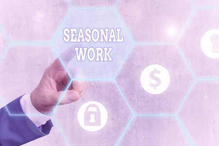 Word writing text Seasonal Work. Business photo showcasing Temporary employment which the workload occurs certain season