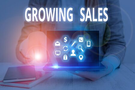 Word writing text Growing Sales. Business photo showcasing Average sales volume of a company products has grown 版權商用圖片