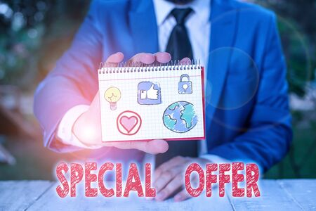Word writing text Special Offer. Business photo showcasing product or service that is offered free or at a very low price