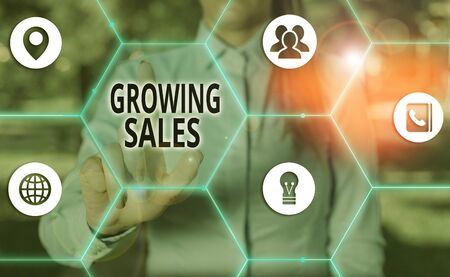 Handwriting text Growing Sales. Conceptual photo Average sales volume of a company products has grown