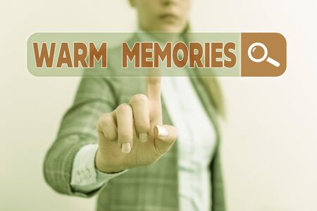 Word writing text Warm Memories. Business photo showcasing Something that you remember with pleasure Sweet reminiscences