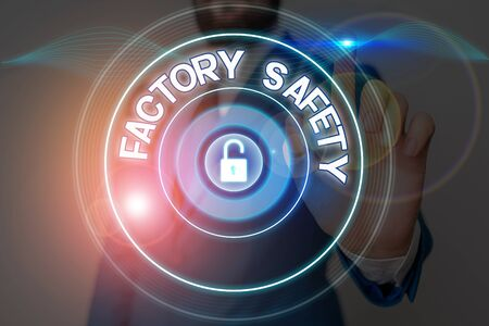 Text sign showing Factory Safety. Business photo showcasing minimize risk of worker injury while doing production tasks Stock Photo
