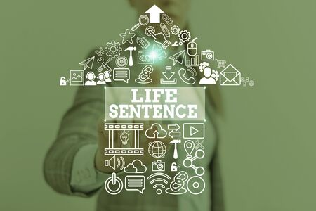 Conceptual hand writing showing Life Sentence. Concept meaning the punishment of being put in prison for a very long time