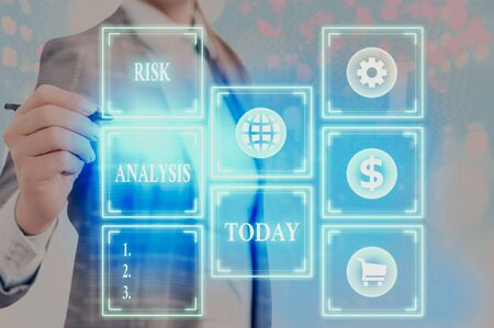 Word writing text Risk Analysis. Business photo showcasing review of the risks associated with a particular event Banque d'images