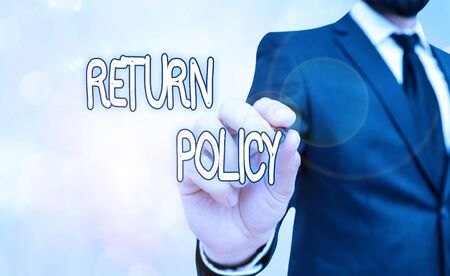 Handwriting text Return Policy. Conceptual photo return or exchange defective merchandise that they buy before
