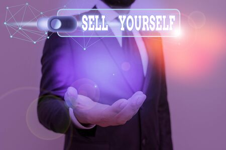 Handwriting text Sell Yourself. Conceptual photo to make yourself seem impressive or notable to other showing
