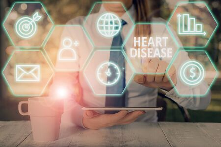 Word writing text Heart Disease. Business photo showcasing class of diseases that involve the heart or blood vessels Imagens