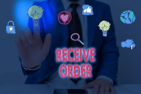 Text sign showing Receive Order. Business photo showcasing delivered and receive goods or services under specified terms