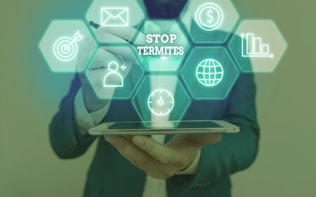 Text sign showing Stop Termites. Business photo text prevent a small tropical insect from damaging the woods Stock Photo