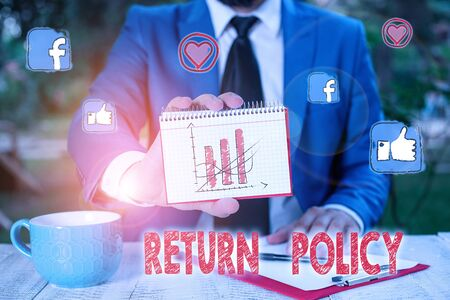 Conceptual hand writing showing Return Policy. Concept meaning return or exchange defective merchandise that they buy before