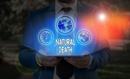 Text sign showing Natural Death. Business photo text occurring in the course of nature and from natural causes