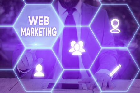 Handwriting text Web Marketing. Conceptual photo The process of using the Internet to market the business 写真素材