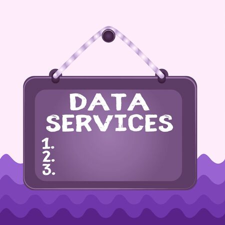 Conceptual hand writing showing Data Services. Concept meaning thirdparty services that help to manage data for clients Board fixed nail frame colored background rectangle panel Фото со стока - 141418258