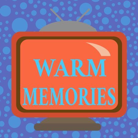 Handwriting text Warm Memories. Conceptual photo Something that you remember with pleasure Sweet reminiscences Square rectangle old multicoloured painting television picture wood design