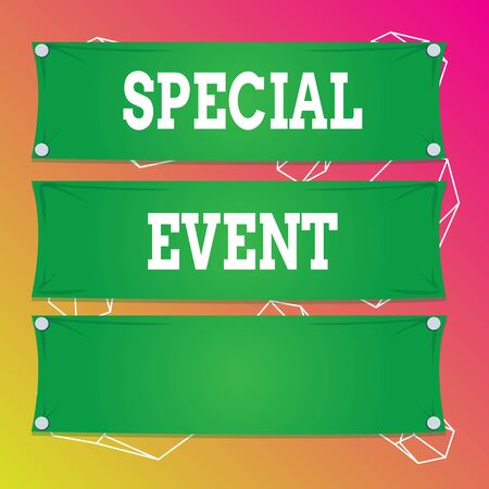 Word writing text Special Event. Business photo showcasing activity or gathering that is planned for a special purpose Wooden panel attached nail colorful background rectangle lumber plank wood