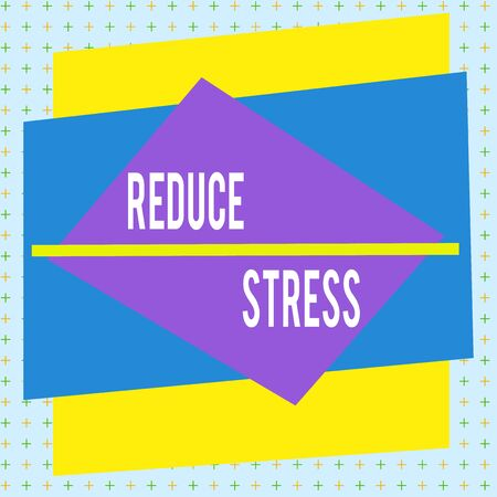Handwriting text writing Reduce Stress. Conceptual photo to relieve the tension and engage to quality lifestyle Asymmetrical uneven shaped format pattern object outline multicolour design 写真素材