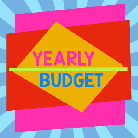 Writing note showing Yearly Budget. Business concept for A plan for a company expenditures for a fiscal year Asymmetrical format pattern object outline multicolor design