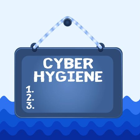 Conceptual hand writing showing Cyber Hygiene. Concept meaning steps that computer users take to improve their cyber security Board fixed nail frame colored background rectangle panel
