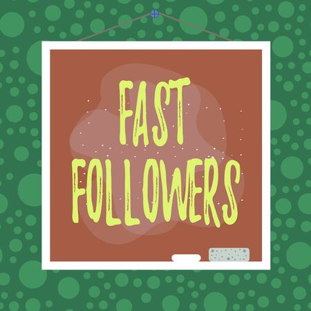 Text sign showing Fast Followers. Business photo showcasing company that quickly imitates the innovations of competitors Asymmetrical uneven shaped format pattern object outline multicolour design