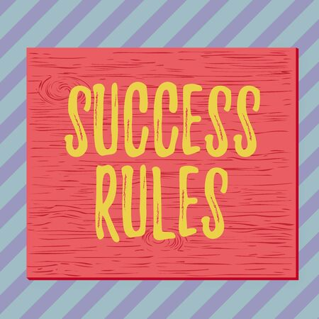 Handwriting text writing Success Rules. Conceptual photo able to achieve all the goals that you have set for yourself Square rectangle unreal cartoon wood wooden nailed stuck on coloured wall