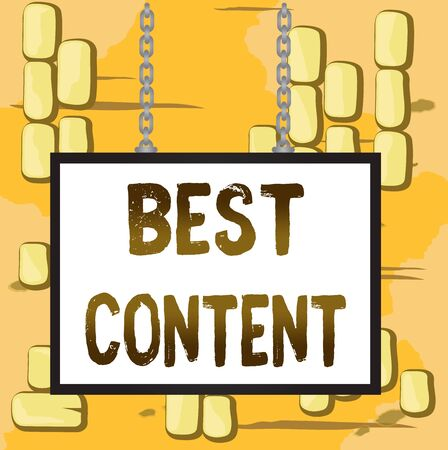 Word writing text Best Content. Business photo showcasing Information and experiences that are directed to the audience Whiteboard rectangle frame empty space attached surface chain blank panel Фото со стока