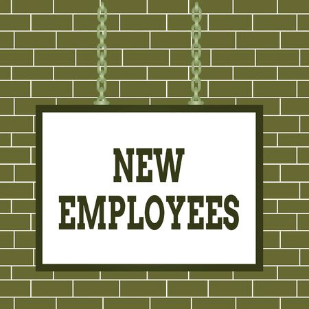 Text sign showing New Employees. Business photo showcasing has not previously been employed by the organization Whiteboard rectangle frame empty space attached surface chain blank panel Reklamní fotografie