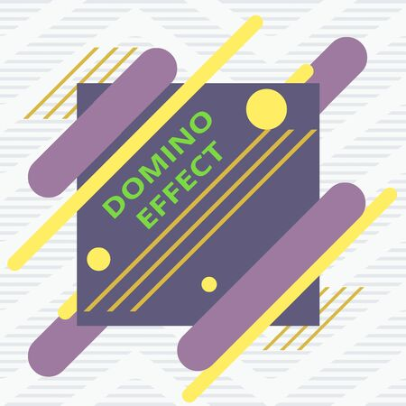 Word writing text Domino Effect. Business photo showcasing Chain reaction that causing other similar events to happen Asymmetrical uneven shaped format pattern object outline multicolour design