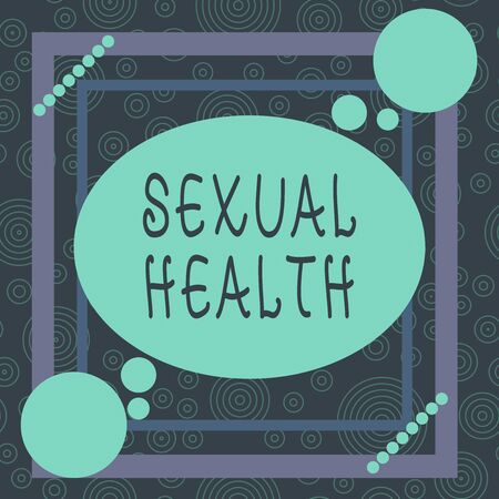 Conceptual hand writing showing Sexual Health. Concept meaning Ability to embrace and enjoy sexuality throughout our lives Asymmetrical format pattern object outline multicolor design Stock Photo