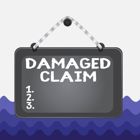 Conceptual hand writing showing Damages Claim. Concept meaning Demand upon the insurer for compensation for a damage Board fixed nail frame colored background rectangle panel Imagens