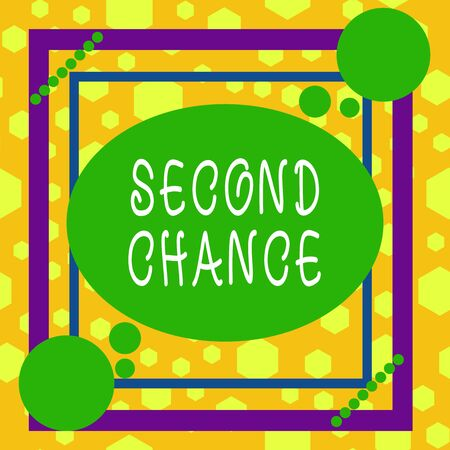 Handwriting text writing Second Chance. Conceptual photo opportunity to try something again after failing one time Asymmetrical uneven shaped format pattern object outline multicolour design