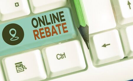 Word writing text Online Rebate. Business photo showcasing Return of a portion of a purchase price by a seller to a buyer