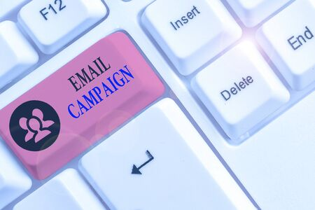 Conceptual hand writing showing Email Campaign. Concept meaning advertisements are sent to a targeted list of recipients