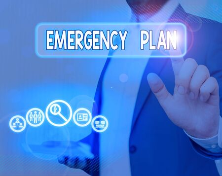 Text sign showing Emergency Plan. Business photo showcasing course of action to mitigate the damage of potential events