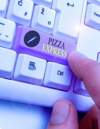 Conceptual hand writing showing Pizza Express. Concept meaning fast delivery of pizza at your doorstep Quick serving