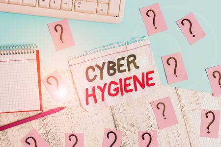 Conceptual hand writing showing Cyber Hygiene. Concept meaning steps that computer users take to improve their cyber security Writing tools and scribbled paper on top of the wooden table Stok Fotoğraf