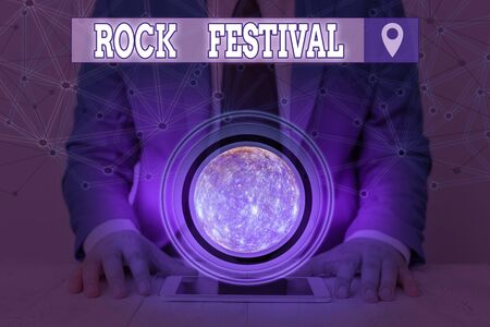 Handwriting text Rock Festival. Conceptual photo Largescale rock music concert featuring heavy metals genre