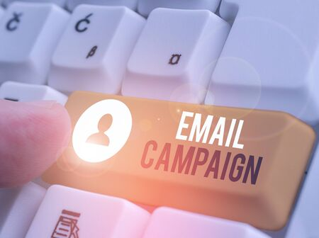 Text sign showing Email Campaign. Business photo showcasing advertisements are sent to a targeted list of recipients